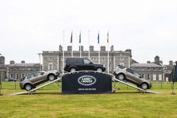 Landrover vehicles on a terrapod at an Orangeworks automotive car launch at Carton House.
