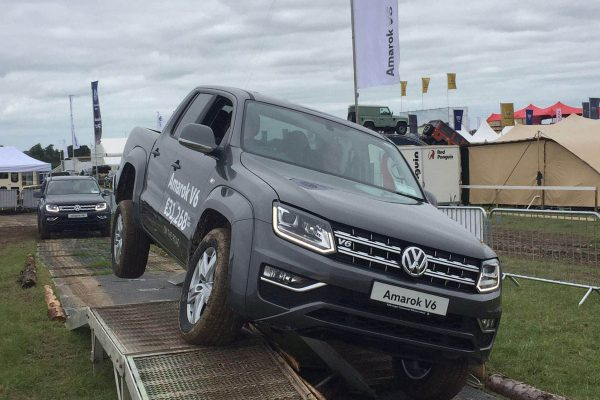 A volkswagen amarok vehicle parked up at an Orangeworks automotive launch.