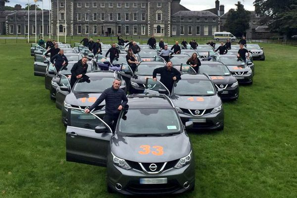 Delegates and Nissan Qashqais outside Carton House, ready for the advanced driving course with Orangeworks.