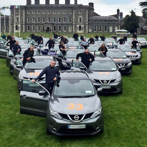 Delegates and Nissan Qashqais outside Carton House, ready for the advanced driver training with Orangeworks.