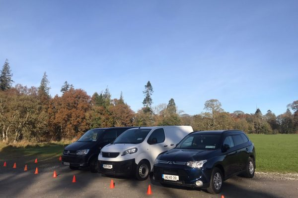 Orangeworks vehicles parked outside Carton House ready to film How to Videos for advanced driving courses for Ervia.