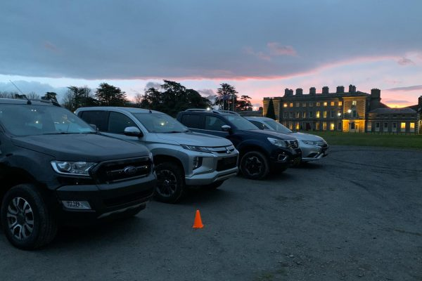 Orangeworks vehicles parked outside Carton House ready to film How to Videos for advanced driving courses.