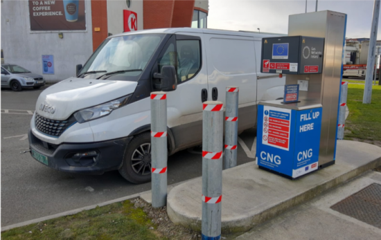 Iveco CNG van pulled up at CNG gas filling station while being tested by Orangeworks Driver Training.